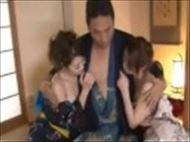 <モザ無>北条麻妃/加藤ツバキ 激えろな着物姿の美人妻二人と過激な3PSEX☆