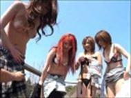 <モザ無>四人のモデルたちをログハウスに連れ込みみんな清楚に剃毛してやりました☆